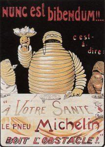 Un poster de Michelin vieilli avec l'image du bonhomme Bibendum et le logo de la marque